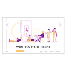 battery low level wireless charging landing page vector image