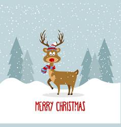 beautiful flat design christmas card with reindeer vector image