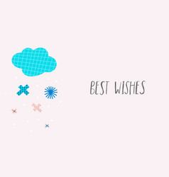 best wishes snow winter christmas snowflake card vector image