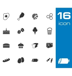Black food icons set on white background vector