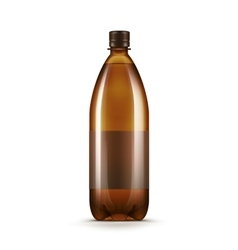 Blank Brown Plastic Water Beer Kvass Bottle vector image