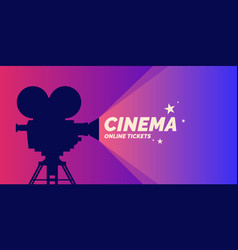 bright poster with an old movie camera vector image