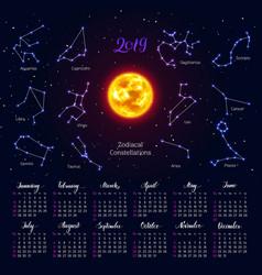 Calendar sun zodiac signs 2019 night sky vector