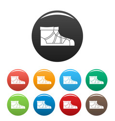 Camp boots icons set color vector