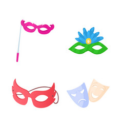 Carnaval mask icon set cartoon style vector