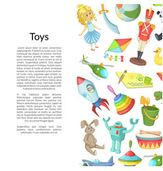 cartoon children toys place for text vector image