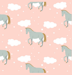 cartoon cute kid horse pattern pastel vector image