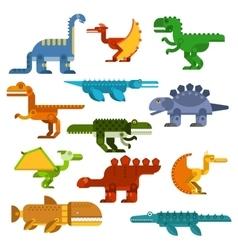 Cartoon flat dinosaurs and aquatic reptiles vector
