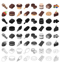 chocolate desserts set icons in cartoon style big vector image