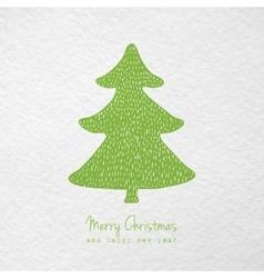 Christmas card with hand drawn christmas tree vector image