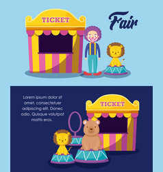 circus tents ticket sale with clown and cute vector image