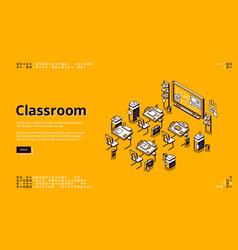 Classroom isometric landing page school class vector