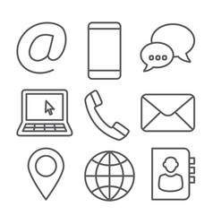 Contact line icons on white background vector
