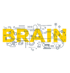 creative of brain word lettering vector image