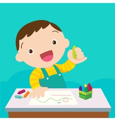 cute boy drawing vector image