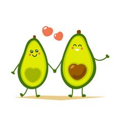 Cute cartoon avocado couple holding hands vector