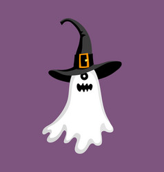 Cute halloween ghost in hat vector