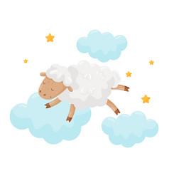 Cute little sheep sleeping on a cloud lovely vector