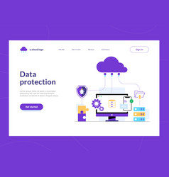 Data protection landing page first screen cloud vector