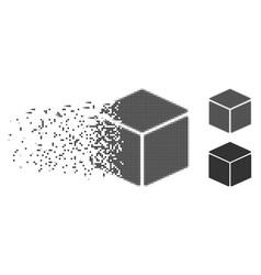 Disintegrating pixel halftone cube icon vector