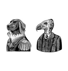 Dog officer and california condor gentleman great vector