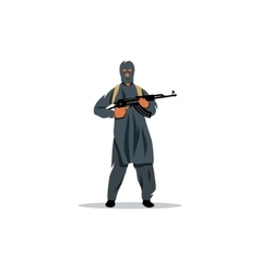 East Islamic commandos with a gun sign vector image