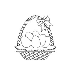 easter basket with eggs outline vector image