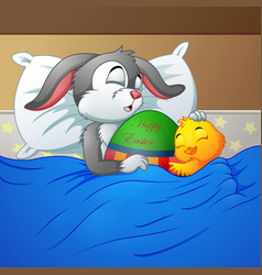 easter rabbit and chicken easter sleeping together vector image