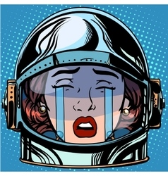 emoticon cry Emoji face woman astronaut retro vector image