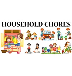 Family members doing different chores vector