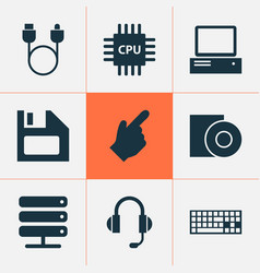 Gadget icons set with cursor floppy disk server vector