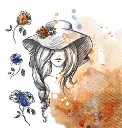 Girl in a hat on a watercolor background vector