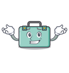 Grinning suitcase character cartoon style vector