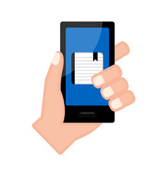 Hand holding a smartphone with an agenda app vector
