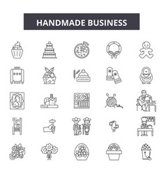 handmade business line icons signs set vector image