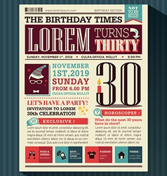 Happy Birthday card design layout newspaper style vector image