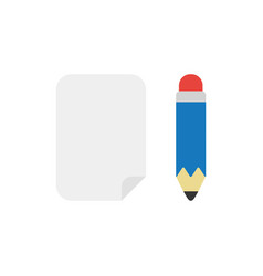 Icon concept of blank paper with pencil vector