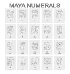Icon set with maya head numerals glyphs vector