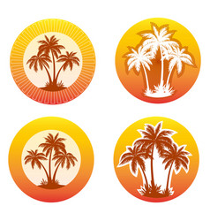 Icons with palms silhouettes vector