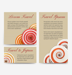 invitation cards with japanese umbrella set vector image