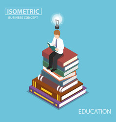 isometric businessman reading at the top of book vector image