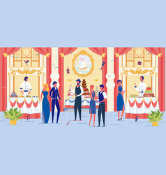 Luxury banquet hall with festively dressed people vector