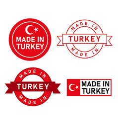 made in turkey stamp label graphic template set of vector image