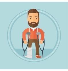 Man with broken leg and crutches vector image
