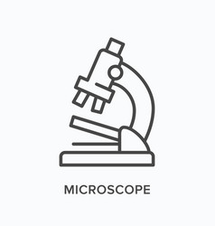 Microscope flat line icon outline vector