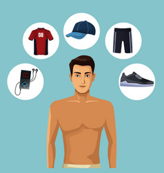 model man with fitness clothes vector image
