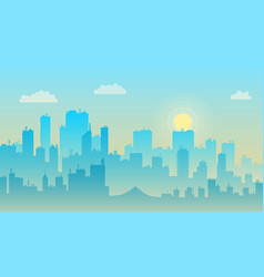morning sky and clouds over city silhouette vector image