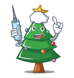 Nurse christmas tree character cartoon vector