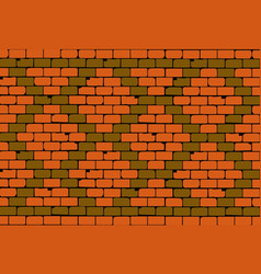 Old brick wall rhombus pattern vector