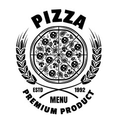 pizza emblem badge label or logo in vector image
